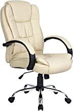 Artiss Executive Office Chair Faux Leather Padded Computer Home Work Seat High Back Adjustable Height Chrome Base Beige