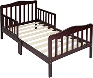 Children Wooden Toddler Bed for Boys & Girls, Classic Design Toddler Bed with Safety Guardrails, Bedroom Furniture, Kids Wood Bed Frame with Half Side Rails, Toddler Bed with Headboard (Brown)