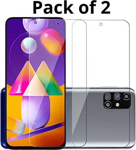 POPIO Tempered Glass For Samsung Galaxy M31s Transparent Full Screen Coverage Except Edges Pack Of 2