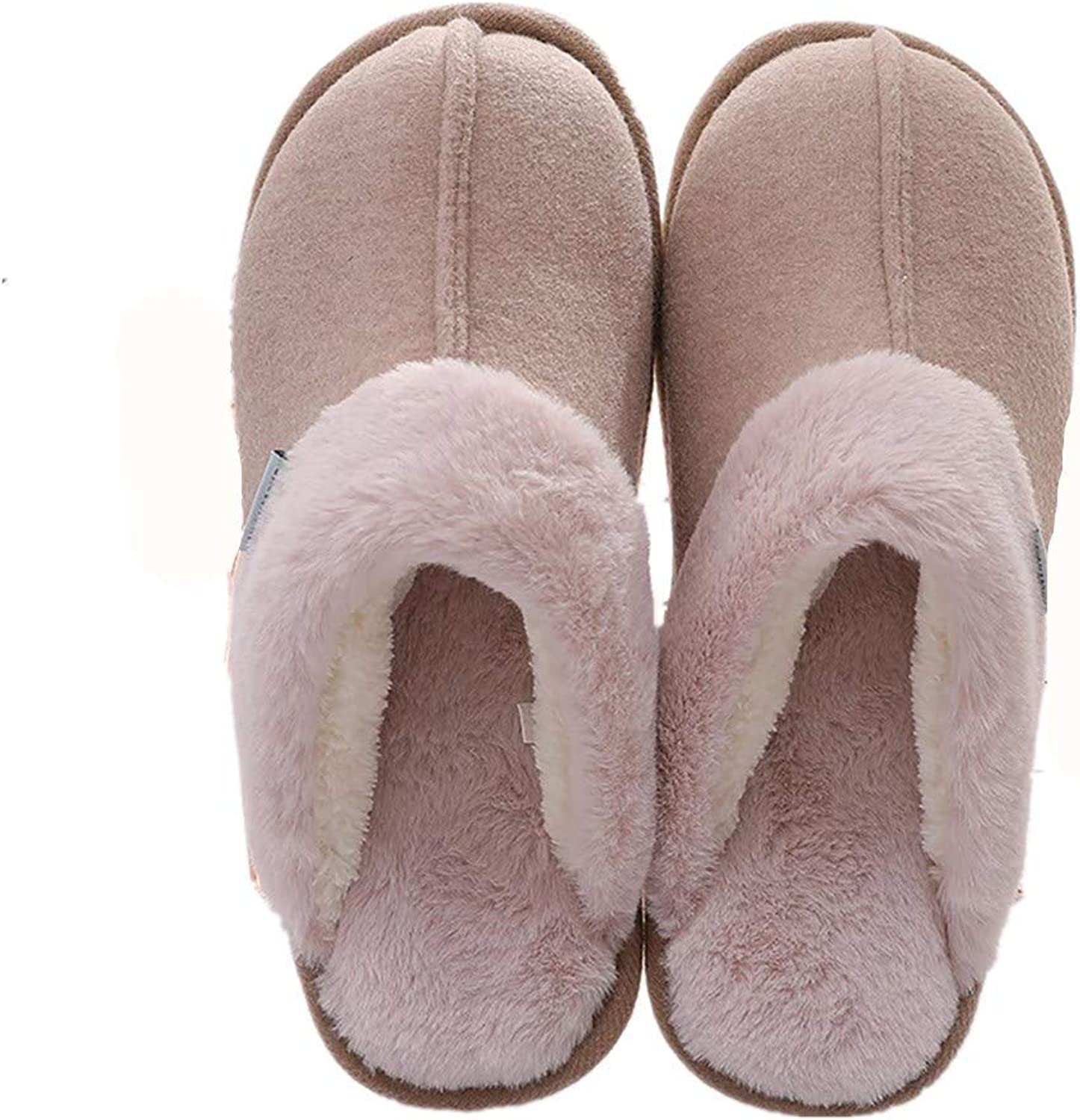 Man Cotton Slippers Cashmere Artificial Rabbit Hair House Warm Indoor Non-Slip Couple shoes (color   Coffee, Size   43 44 EU)
