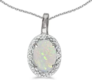 Jewels By Lux 10k White Gold Genuine Birthstone Oval Gemstone And Diamond Pendant (1/3 Cttw.)