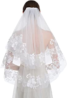 New Elegant 2 Tier Fingertip Bridal Veils Lace Embroidery Edge with Comb