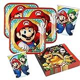 Unbekannt Juego de 36 piezas para fiesta de Super Mario – platos, vasos y servilletas para 8 niños