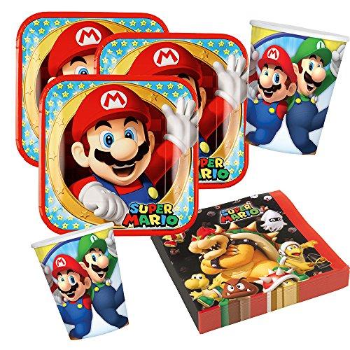 Unbekannt 36-teiliges Party-Set Super Mario - Teller Becher Servietten für 8 Kinder