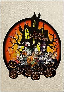 ASKLKD Happy Halloween Garden Drapeau de bienvenue, truc de conception d'impression double face verticale ou traite de la ...