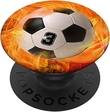Fußball Nummer 3 Glückszahl Feuer Flamme Fußballball Popsockets Ausziehbarer Sockel Und Griff Für Smartphones Und Tablets Elektronik