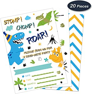 WERNNSAI Dinosaur Birthday Invitations