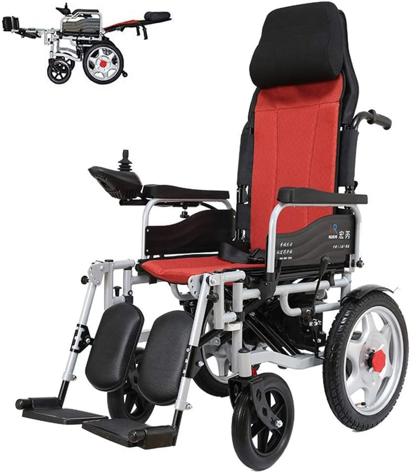 KAD Silla de ruedas eléctrica plegable con respaldo reclinable, reposacabezas ajustable; Batería de iones de litio de polímero (12A) (controlador derecho) J h