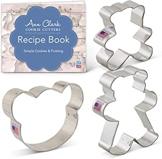 Ann Clark Cookie Cutters 3-Piece Teddy Bear Cookie Cutter Set with Recipe Booklet, Bear Face and Teddy Bears
