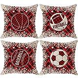 Mesllings Juego de 4 fundas de cojín cuadradas decorativas para sofá de 18 x 18 pulgadas con diseño de copos de nieve de baloncesto de fútbol, rojo y negro, cuadros de búfalo, cuadros, arpillera