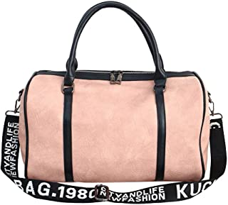 Travel Bag Neutral, Yoga Carry-on Duffel Bag, Large Capacity (20~35L) pu Leather Gym Bag, Light and Waterproof, Suitable for Short Trips,Pink