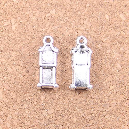 WANM Anhänger 14pcs Charms Standuhr Antik 20x8mm Antik Anhänger Vintage Tibetisch Silber DIY Schmuck Für Halskette Armband