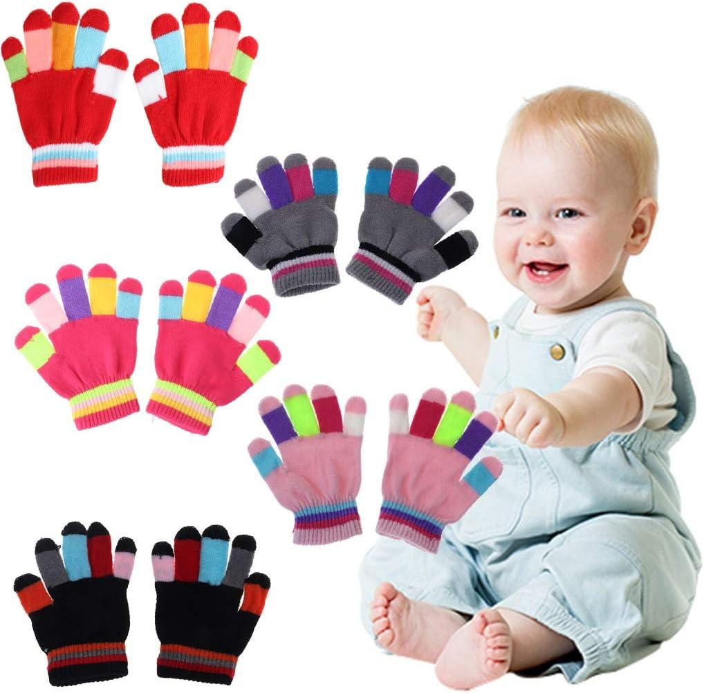 YO-HAPPY 1 Pair Kids Gloves Full Finger Warm Winter Children Colorful Stripe Knitted Boys Girls Solid Glove Multi Color Elastic