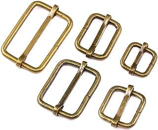 Swpeet 50 Pcs Bronze Metal Rectangle Adjuster Triglides Slides Buckle, Roller Pin Buckles Slider Strap Adjuster for Belt B...