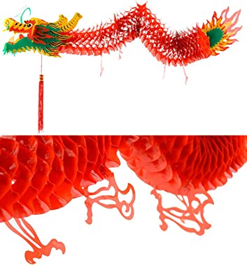 AMS 3D Chinese New Year Paper Dragon Garland Hanging Decoration New Year Party Ornaments(39 inch)