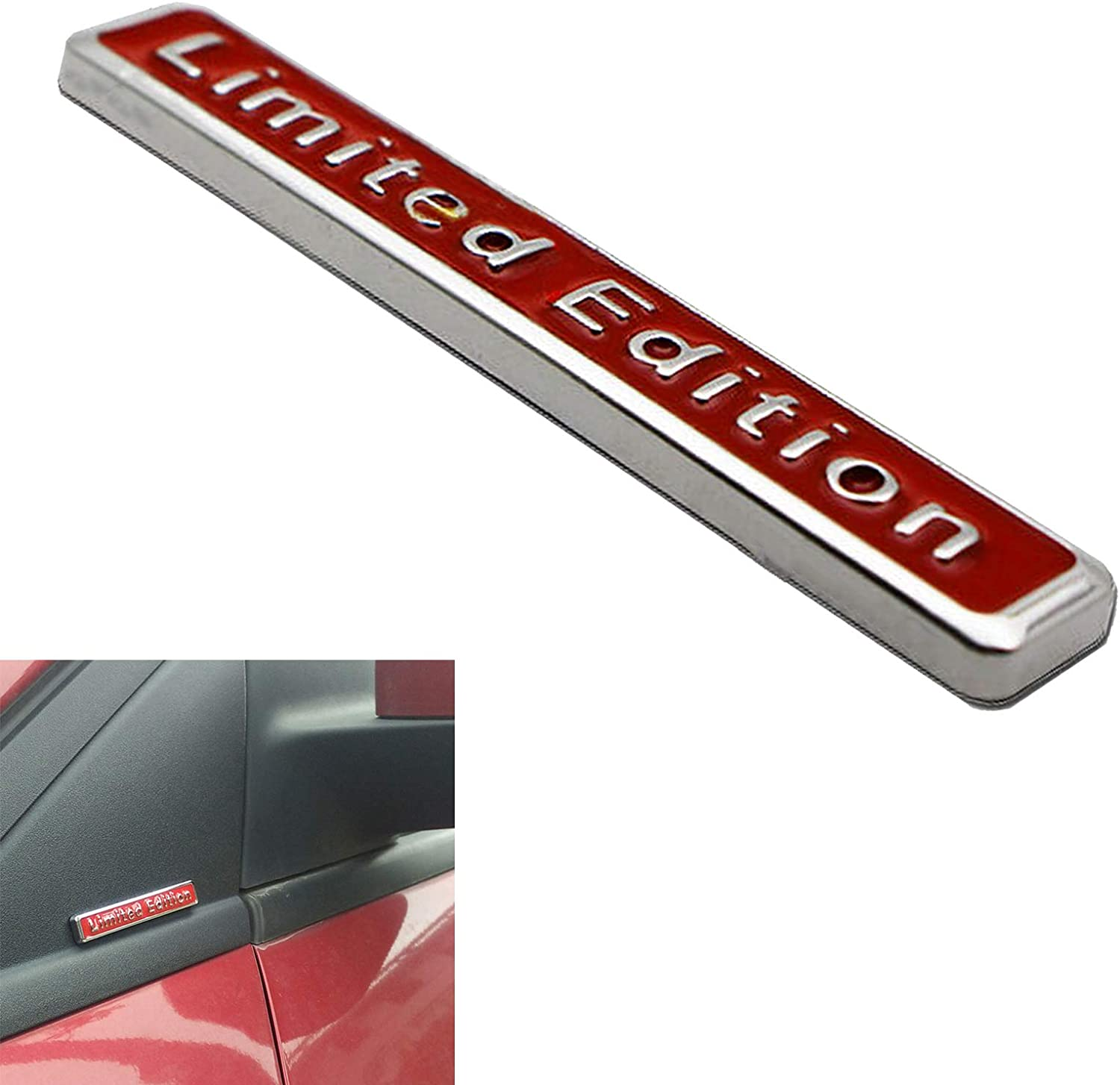StoreNO12345-3D Car Auto Truck Fender Body Silver//Red DIY Metal Emblem Sticker Turbo Letter Badge Logo Decal Red