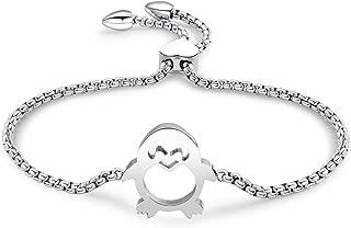 Link Bracelet for Women, Adjustable Charm Bracelet Rose Gold Stainless Steel Chain Bracelet for Best Friend