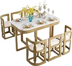 ZLH Zestaw stołów do jadalni - marmurowy stół do jadalni zestaw z 6 krzesłami do małych pomieszczeń kuchnia, nowoczesny do...