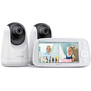 """VAVA Baby Monitor Split View, 5"""" 720P Video Baby Monitor with 2 Cameras, Audio and Visual Monitoring, Pan Tilt Zoom, 900ft Range, 4500mAh Battery, Infrared Night Vision and Thermal Monitor"""
