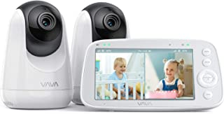 "VAVA Baby Monitor Split View, 5"" 720P Video Baby Monitor with 2 Cameras, Audio and Visual Monitoring, Pan Tilt Zoom, 900ft..."