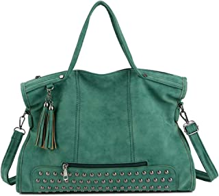 Portable Women's Soft PU Leather Solid Color Handbag European and American Style Large-Capacity Shoulder Bag Messenger Bag Tassel Handbag (Color : Green)