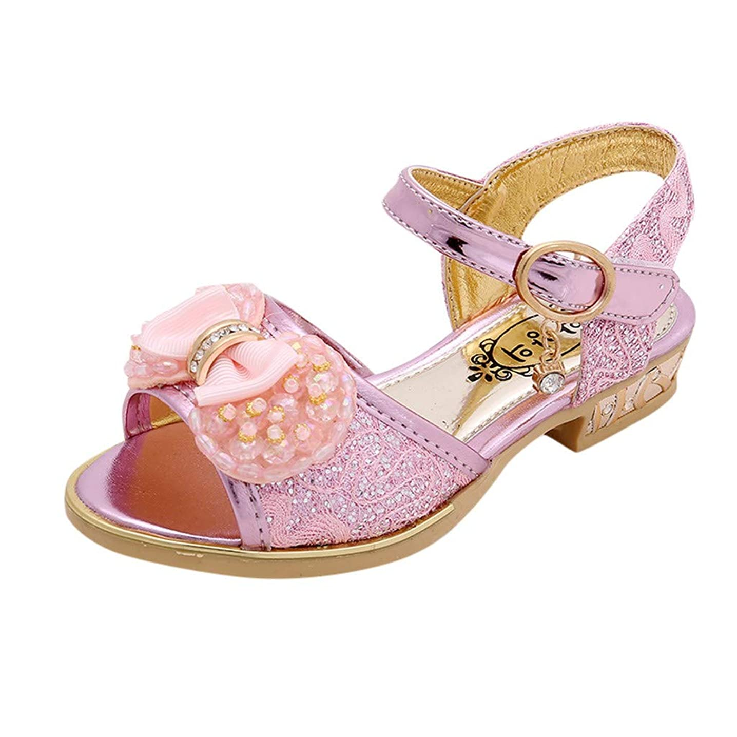 Tantisy ??? Kids Girls Sequin Sandals Princess Crystal High Heels Shoes Mary Jane Wedding Party Dress Shoes