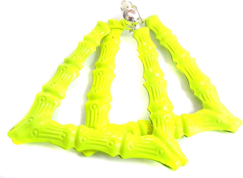 Clip-on Earrings Trapezoid Triangle Bamboo Neon Yellow Hoop Earrings 3.5 inch