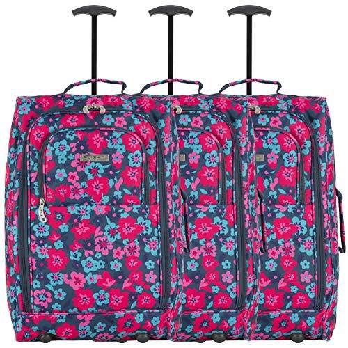 Flight Knight Set van 3 55x35x20cm Handbagagekoffer easyJet Ryanair Goedgekeurde 2 wielen Lichtgewicht tas Ideaal voor vliegreizen