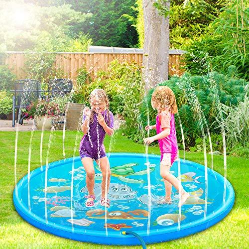 Nasharia 170CM Splash Pad,Sprinkler Wasser-Spielmatte, Sommer Garten Wasserspielzeug Kinder Baby Pool Pad Spritzen für Outdoor Familie Aktivitäten/Party/Strand/Garten