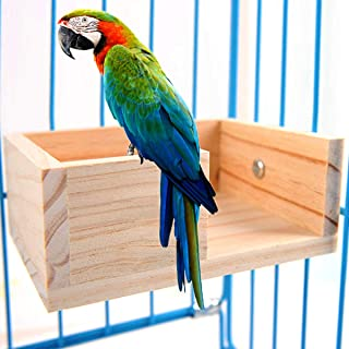 Pet Bird Perch Parakeet Parrot Stand Platform Food Feeder Corner Desk Small Animal Bird Parakeet Playground Stands for Gerbil Hamster Budgie Cockatiel Parrot Rat Parakeet Cage Stands Accessories Toys