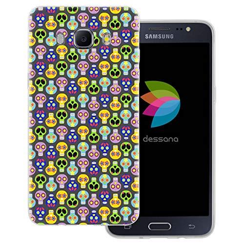 dessana Skelette - Cover trasparente per Samsung Galaxy J5 (2016) con teschio e Babbo Natale