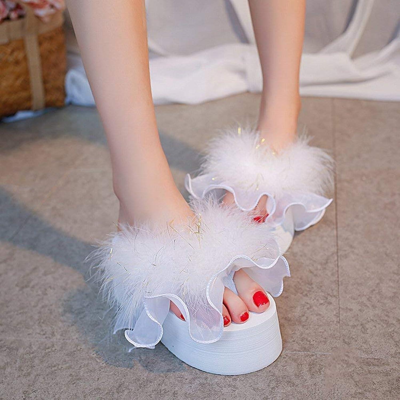 HhGold Plüsch Pantoffeln Federn Flip Flop Weibliche Steigung mit Plattform Schuhe Hochhackigen Plattform Hausschuhe (Farbe   Wei, Gre   39)