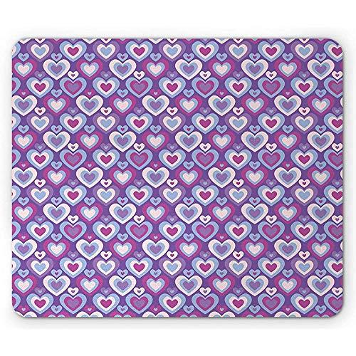 Valentijnsdag muismat, vrouwelijke hartjes in retro romance-ontwerp, anti-slip rubberen muismat, blauw violet meerdere