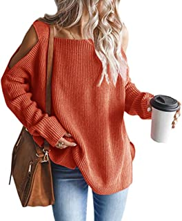 MaQiYa Womens Cold Shoulder Oversized Sweaters Batwing Long Sleeve Chunky Knitted Winter Tunic Tops