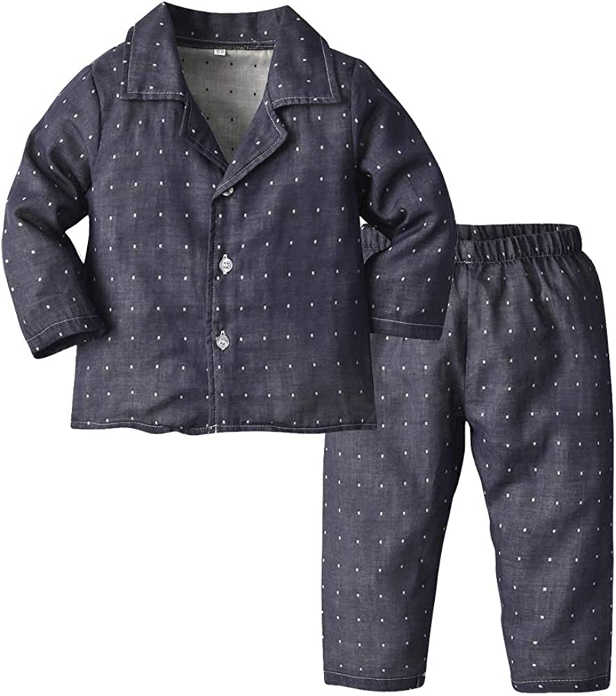 Toddler Baby Boys Girls Pajamas Unisex Baby Kids Cotton Long Sleeve Button-Front PJs Sleepwear Sets(Navy Dot, 70/6-12 Months)