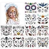 HOWAF Tatuaje Temporal de Cara Halloween, Pegatinas de Maquillaje Facial, 12 kit Halloween Tatuajes Temporales para Niños, Niñas Halloween Disfraces y Fiestas