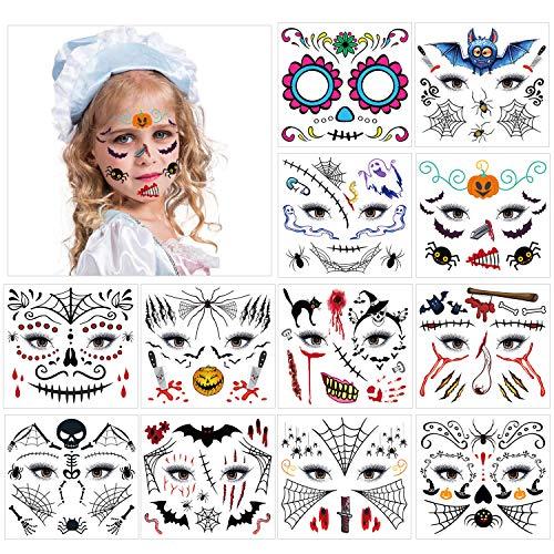 HOWAF Tatuaje Temporal de Cara Halloween, Pegatinas de Maquillaje Facial, 12 kit Halloween Tatuajes Temporales para Nios, Nias Halloween Disfraces y Fiestas