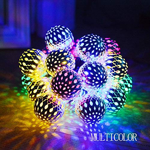 Energy saving LED-ljus och skugga Metal ihåliga bollen Style Lamp String uterum Yard dekoration Holiday Lights String Environmental protection (Emitting Color : Colorful, Wattage : 6M 40LEDs Plug)