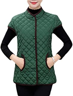 Macondoo Women Warm Quilted Autumn Ultra Light with Pocket Puffy Sleeveless Coat Jacket Vests