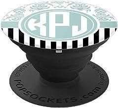 KPJ Monogram Gift Blue Damask Initials KPJ or KJP PopSockets Grip and Stand for Phones and Tablets
