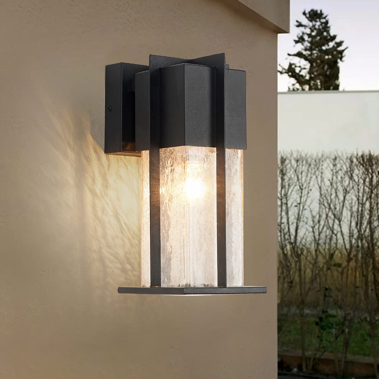 Outdoor Under blast sales Wall 25% OFF Light Fixtures with Shade Glass Modern O Crack-Like
