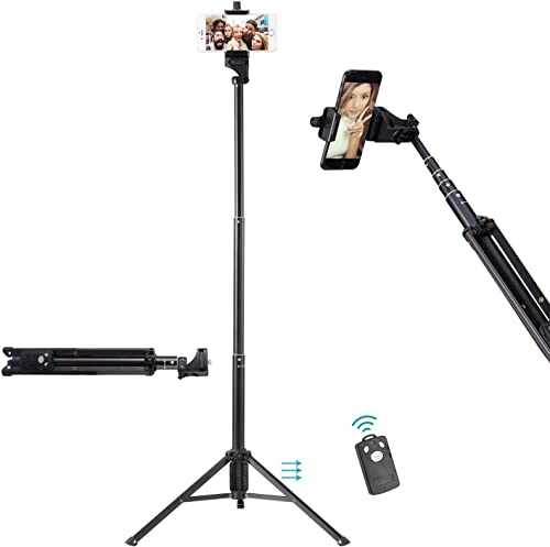 Ottertooth Selfie Stick Tripod, Extra Long 137 cm Extendable Tripod Stand with Wireless Remote Shutter, Camera Tripod...