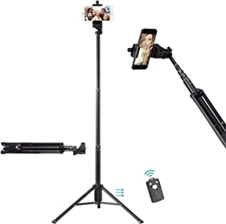 Ottertooth Selfie Stick Tripod, Extra Long 137 cm Extendable Tripod Stand with Wireless Remote Shutter, Camera Tripod, Pho...