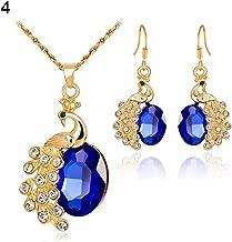 Fashion Jewelry Sets for Women Clearance & Women Luxury Rhinestone Peacock Pendant Necklace Earrings Socialite Jewelry Set