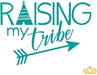Raising My Tribe Vinyl Decal for Car, Cup, or Laptop - Turquoise, 3.5 in x 5 in