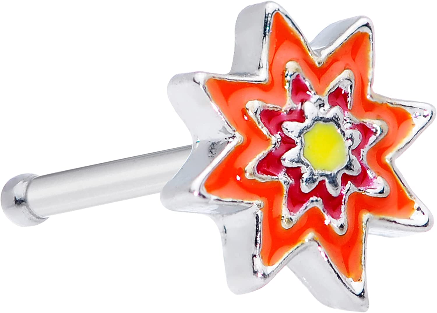 Body Candy Womens 20G 316L Steel Nose Ring Red Orange Flower Nose Stud Nose Bone Body Piercing Jewelry 1/4