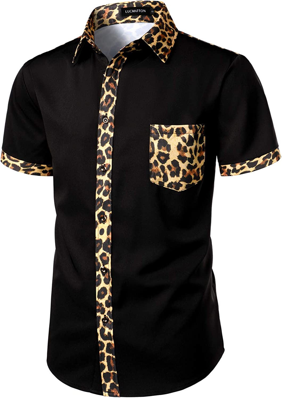 LucMatton Men's African Printed Patchwork Design Short Sleeve Button up Shirt Traditional Dashiki