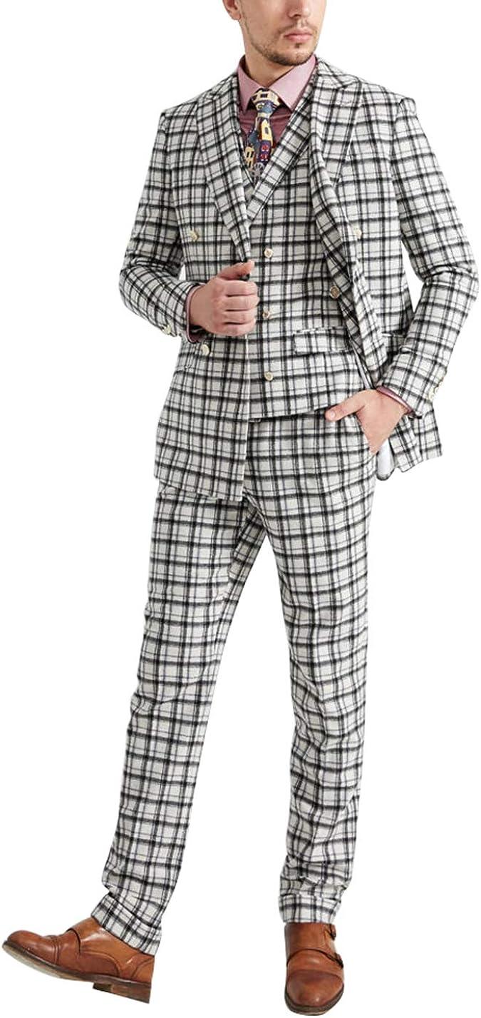 Men's Suits Slim Fit 3 Pieces Plaid Tweed Tuxedo Suits Black and White Formal Wear