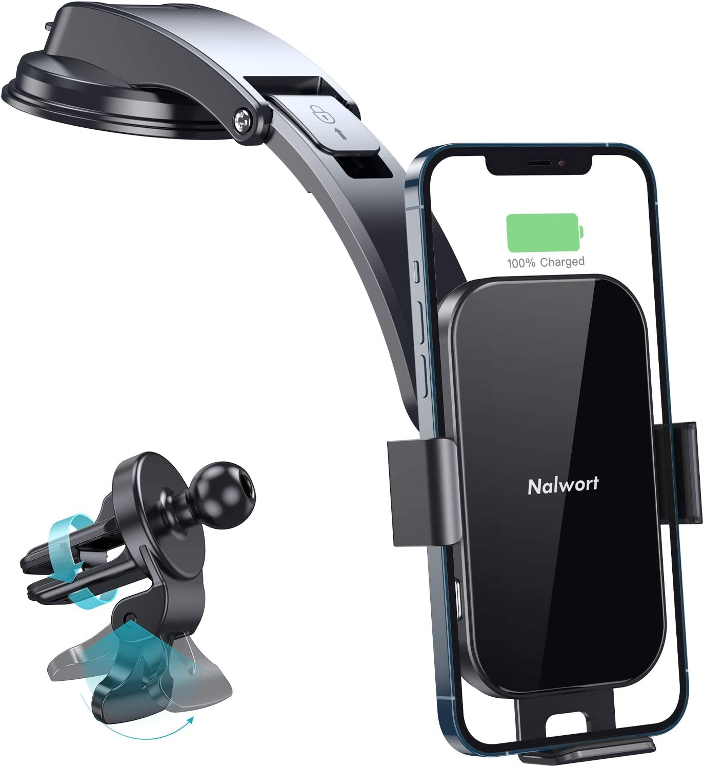 Nalwort Wireless Car Charger 15W Qi Fast Charge with Metal Frame Dashboard Smartphone Mount