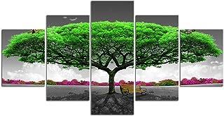 SZQY Cuadros Póster Impresión 5 Piezas Lienzos Cuadros Pinturas Dibujos Animados Impresiones Decoración para El Arte Pared del Hogar 150×80Cm/ Árbol Verde con Silla